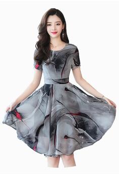 7af3f02023cd96 Halo grey Printed Chiffon Dress 286B6AA1CD0C96GS 1