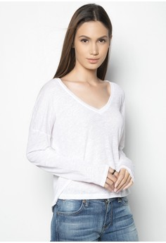 Ls V Neck Linen Shirt