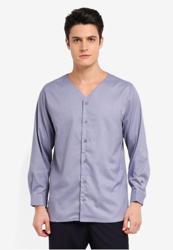 Zalia Homme 藍色 V Neck Shirt 9E266AA6252A9CGS_1