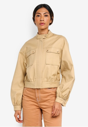 TOPSHOP brown Patch Pocket Crop Jacket D5A9AAA96BFE8DGS_1