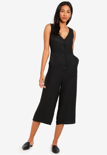 ZALORA BASICS black Basic Button Front Culotte Jumpsuit CFA58AAAFEBBCEGS_1