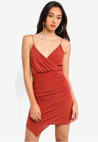 41798675ff0 MISSGUIDED orange Strappy Slinky Ruched Mini Dress 4E333AA56F3714GS 1