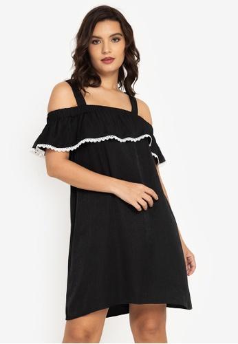 ZALORA BASICS black Embroidered Cold Shoulder Mini Dress F3E06AAE293FEBGS_1