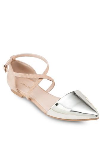 交叉踝帶尖頭平底鞋, 女鞋, zalora時尚購物網評價芭蕾平底鞋