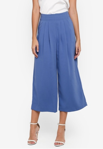 TOPSHOP blue Cropped Wide Trousers B6EA8AA7061BDBGS_1