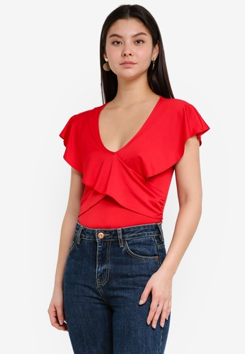 Miss Selfridge red Angel Sleeve Twist Blouse DCD7CAA9BD71EDGS_1