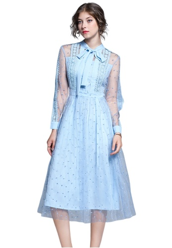 Sunnydaysweety blue Light Blue See Through Sleeves One Piece Dress A091045 A8324AAEC5B1E1GS_1