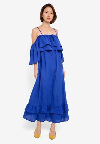 LOST INK blue Ruffle Bust And Hem Maxi Dress D086FAA5522F99GS_1