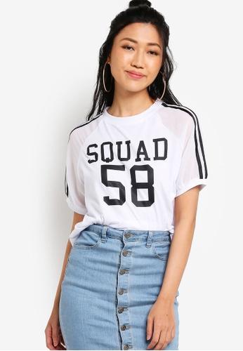 Something Borrowed white Squad Mix Material Tee E2BACAA0967EB3GS_1