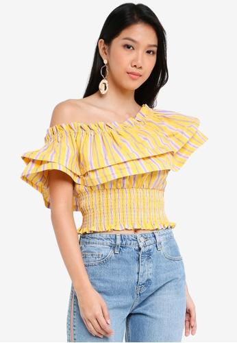 River Island yellow Yellow Stripe One Shoulder Shirred Crop Top 4F99FAA8E940ECGS_1