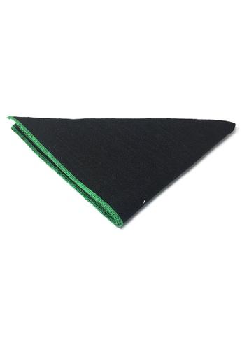 Splice Cufflinks black Snap Series Green Lining Black Cotton Pocket Square   SP744AC87DKQSG_1