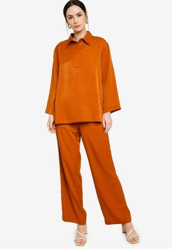 ZALIA BASICS 橘色 Collar Shirt Co Ords 40D5CAA77B6112GS_1