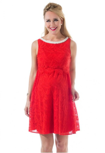 Bove by Spring Maternity red Woven Short Sleeve Cara Embellishment Dress Aurora Red IDN3103 SP010AA70DHLSG_1