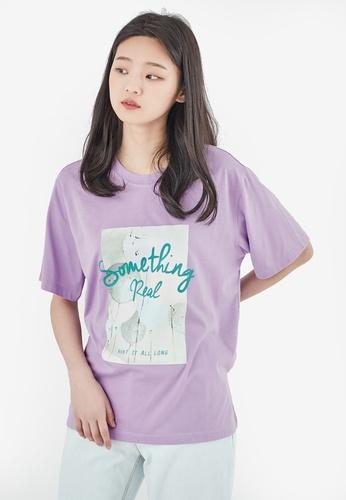 NAIN purple Oversized Printed Tee 98F0AAAF0AB57EGS_1