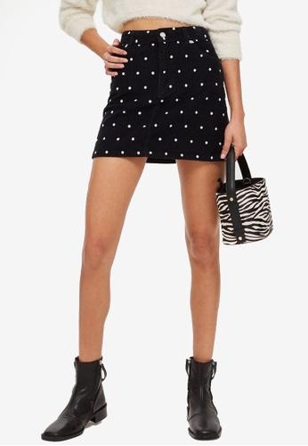 TOPSHOP 黑色 Spot Corduroy Skirt 0B5FDAA02B36CDGS_1