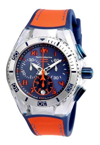 TECHNOMARINE orange and blue Technomarine Cruise Unisex 40.57mm Case Blue, Orange Silicone, Canvas Strap Blue, Orange Dial Quartz Watch TM-115020 TE359AC0F5GESG_1