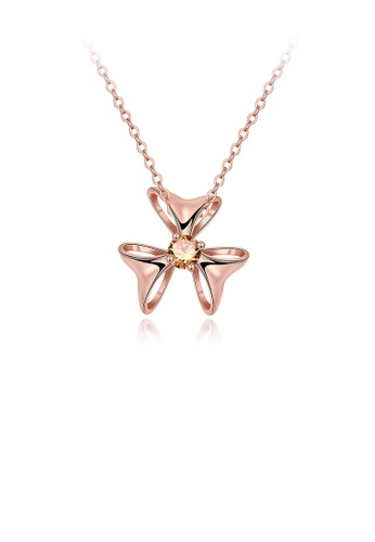 Glamorousky gold Simple and Elegant Plated Rose Gold Flower Pendant with Champagne Cubic Zircon and Necklace 6584DACF0C899AGS_1