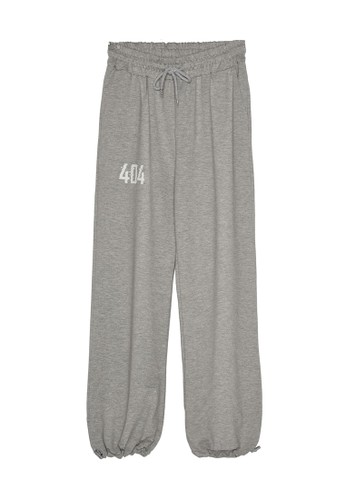 Trendyol grey 404 Print Knitted Sweatpants 91458AA9D4F353GS_1