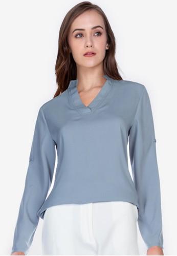ZALORA WORK blue Mandarin Collar Rolled Up Sleeve Shirt 112D6AAC301D3DGS_1