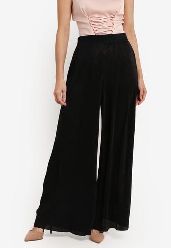 ZALORA black Plisse Trousers 2145EAA1C677E5GS_1