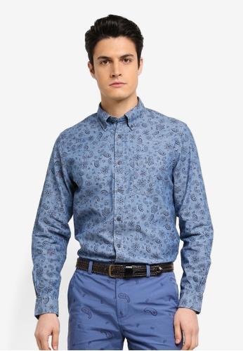 Brooks Brothers 海軍藍色 長袖印花襯衫 E80D3AA5AD0DFBGS_1