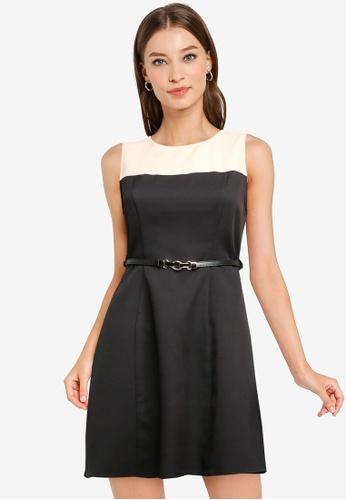 ZALORA WORK multi Colourblock A-Line Dress With Belt 945A1AA4B7A076GS_1