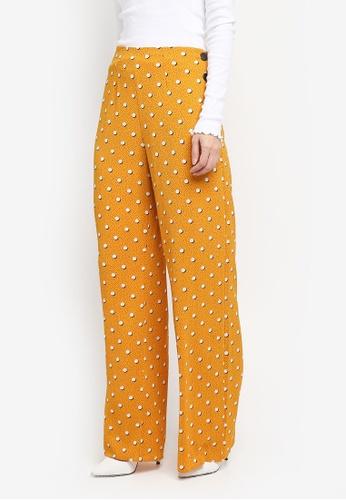 Miss Selfridge yellow Spot Button Side Trousers ED012AA31949FEGS_1