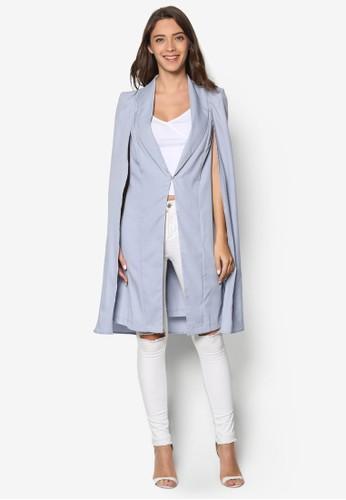 zalora taiwan 時尚購物網鞋子開衩袖長版西裝外套, 服飾, 外套