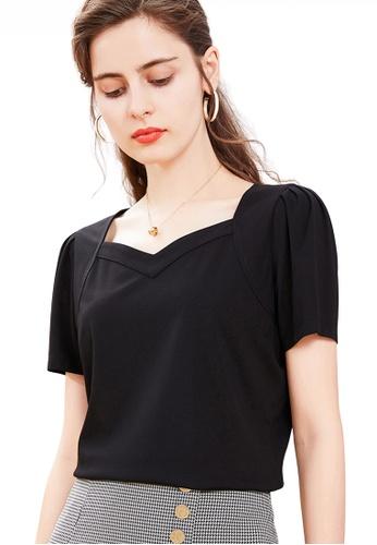 HAPPY FRIDAYS 黑色 泡泡袖甜心領上衣 JW GW-J218 24CF1AA61357D1GS_1
