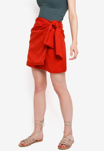 Something Borrowed red Tie Detailed Skirt F542EAAD331198GS_1