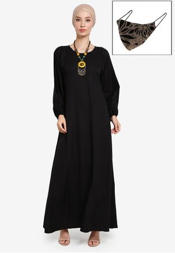 Yans Creation black Sarina Maxi Dress Free Selendang and Reusable Face Mask 75398AAD7802BEGS_1
