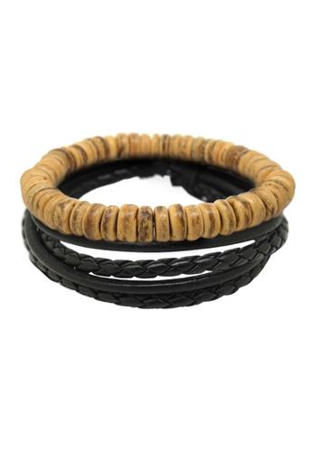 Fur Nyce black Wood Bead Braided Leather Men's Bracelet Set A298FAC112816BGS_1