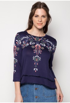 Fina Elbow Sleeves Roundneck Knit Top