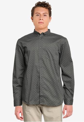 Old Navy grey Slim-Fit Built-In Flex Everyday Printed Shirt C3CA3AA7C9D0C4GS_1