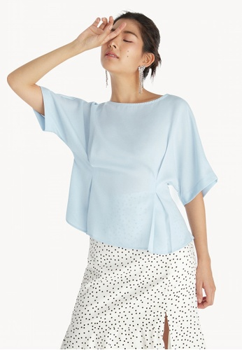 99cb8b7a2b717 Buy Pomelo Loose Pleated Waist Top - Blue Online on ZALORA Singapore