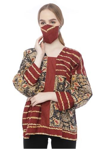 LarisGaleri red and brown Laris Galeri - Blouse Eva Batik Motif Sisik Naga - Free Mask 57F85AA58E9A58GS_1