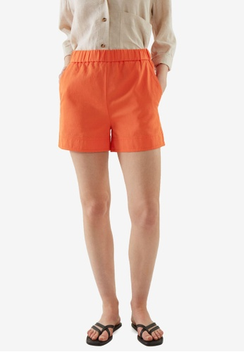 COS orange Cotton-Linen Shorts BD3C1AA6BE02EFGS_1
