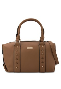 Unisa Studded Fashion Convertible Boston Bag