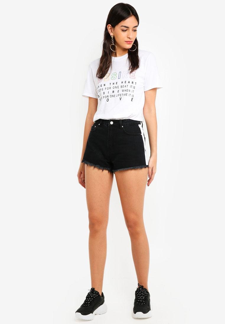 Black Stripe Side Highwaisted Shorts MISSGUIDED Bp4XT