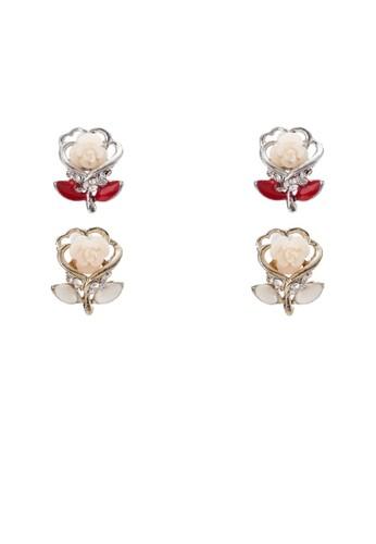 二esprit 西裝入玫瑰花造型耳環, 飾品配件, 飾品配件