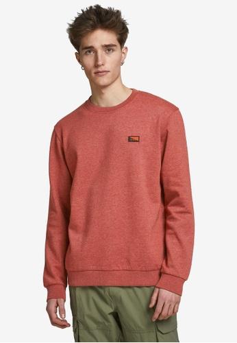 Jack & Jones red Schultz Crew Neck Sweatshirt BAD9BAA13E4A4DGS_1