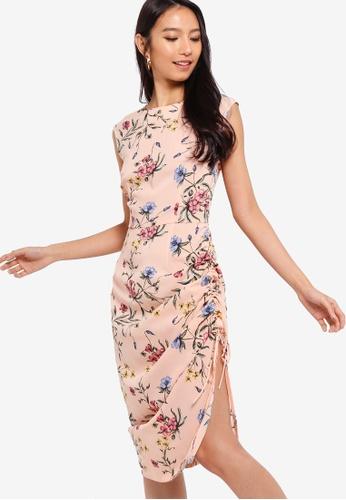 ZALORA pink and multi Ruched Side Sheath Dress 9AC43AAA98A734GS_1
