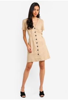 1bac8ef007 Miss Selfridge Stone Linen Tea Dress RM 219.00. Sizes 6 8 10 12 14