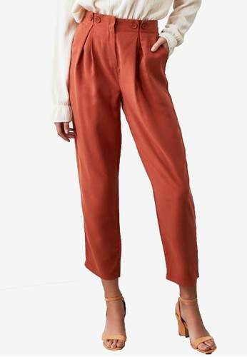 Trendyol orange Button Detail Paperbag Trousers 64104AA4C812CAGS_1
