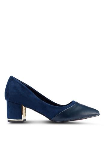 Carlton London 海軍藍色 拼接粗跟鞋 B3550SH126143DGS_1