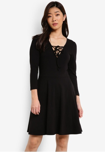 ZALORA black Basic Lace Front Skater Dress 9E960ZZ108FA28GS_1