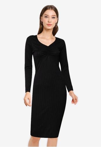 Miss Selfridge black Black Midi Dress 5E8C1AA1BA8E3CGS_1