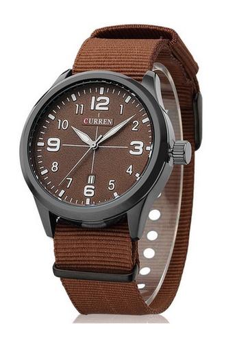 curren brown Curren 8195 Men's Sports & Casual Nylon Strap Watch ( Brown ) CU537AC03SZSMY_1