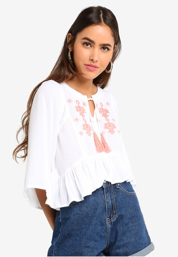 Something Borrowed 白色 Bell Sleeves Crop Top With Embroidery 850F3AAF0F1354GS_1