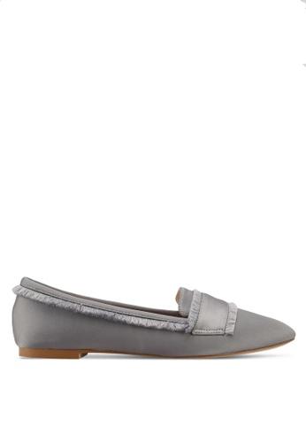 Velvet grey Fringed Flats 632B2SHF2D6290GS_1